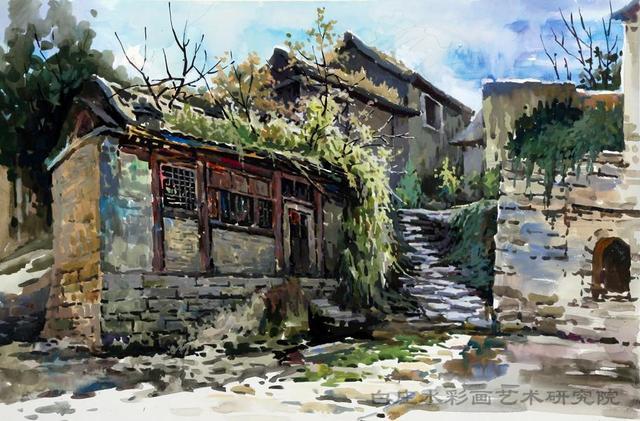 1古村小庙(水粉) - 白庄水彩画家村