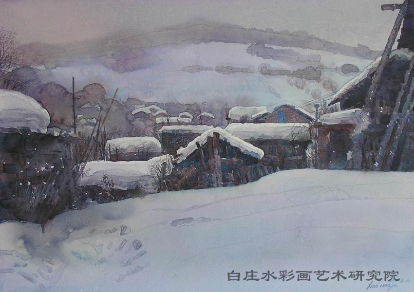 雪映松岭(水彩)